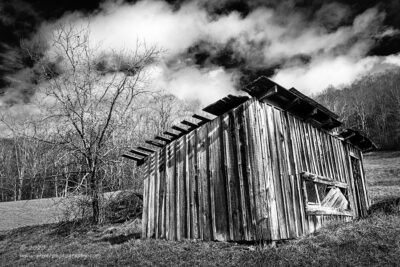 """Tattered Shed"",   Canon 5D Mk3, 16-35mm f/2.8L Mk2, Singh-Ray Color Combo Polarizer, Converted to B&W in Lightroom"