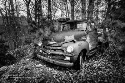 """Woodland Chevy"",   Canon 5D Mk3, 16-35mm f/2.8L Mk2, Singh-Ray Color Combo Polarizer, Converted to B&W in Lighroom"
